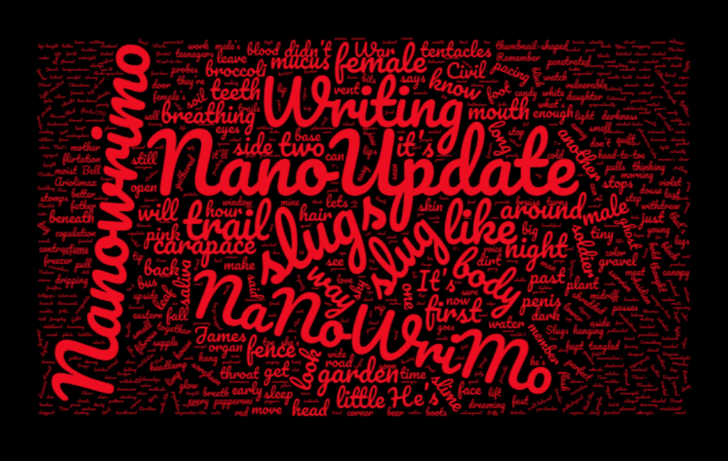 Image of jumbled words with the word Nano-Update in prominence